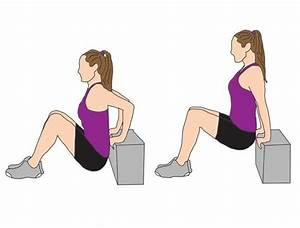 tricep dip with hands resting on a step or bench with With floor tricep dips