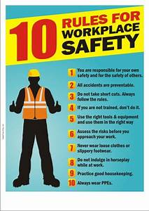 Safety Poster - 10 Rules For Workplace Safety Safety