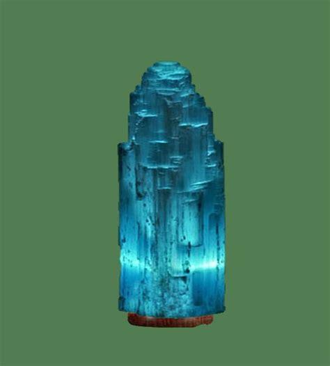 selenite lamp small blue white crystal  blue bulb