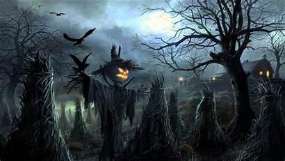 Halloween Scary Background Creepy Graveyard Scarecrows Silence