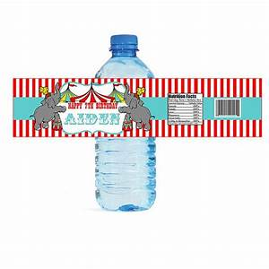 carnival theme water bottle labels circus party favors With circus water bottle labels
