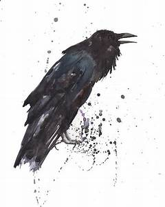 Raven Black Bird Gothic Art Painting by Alison Fennell