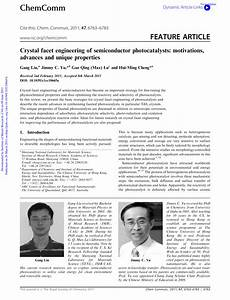 Pdf  Crystal Facet Engineering Of Semiconductor