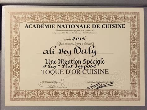 diplome en cuisine le chef tunisien ali dey dali remporte le 1er prix