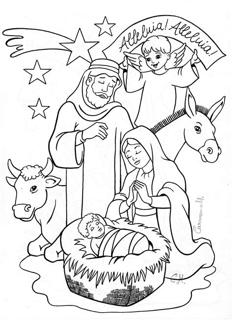 Nativity Coloring Page Coloring Nativity Christmas