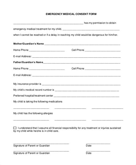 sample medical consent form  examples   word