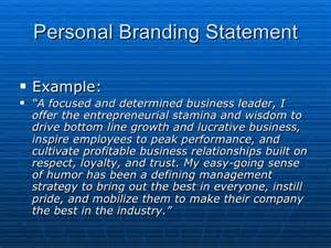 Developing Your Branding Statement