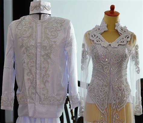 jual kebaya pengantin couple putih akad nikah ijab kabul