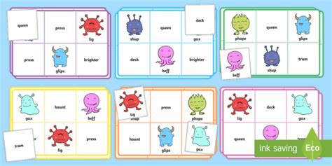 Year 1 Phonics Screening Check Words Bingo  Phonics, Screening