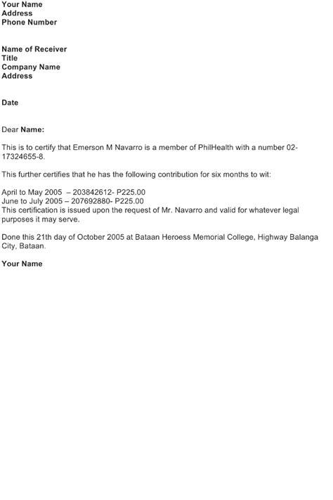Letter Certification – PhilHealth Contribution