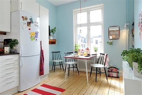 cool blue interior paint and colorful decorative accents