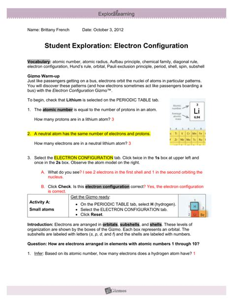 This paper is adapted from a living by chemistry lesson on electron configuration. electronconfiguratiobrittanyf