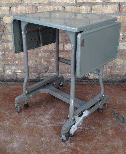 details  vintage industrial metal rolling typewriter