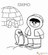 Igloo Coloring Eskimo Pages sketch template