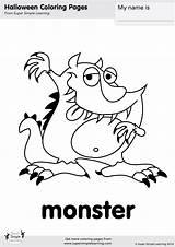 Monster Coloring Halloween Super Worksheets Flashcards Simple Crafts Friends Kindergarten Resource Supersimple Printables Goodbye Songs Kid Tons Learning sketch template