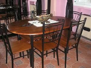 table a manger fer forge et bois With salle À manger contemporaine avec table en fer forgé conforama