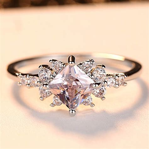 beiver princess cut engagement ring for aaa cubic zirconia cluster bridal rings wedding