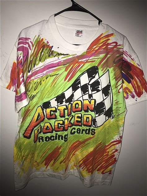 2021 donruss racing nascar base / inserts Vintage 90's NASCAR Action Packed Trading Cards Double Sided Shirt - Size Large by ...