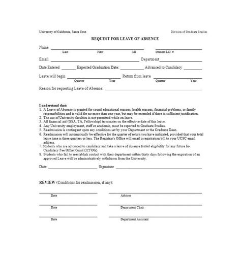 leave  absence letters  forms template lab