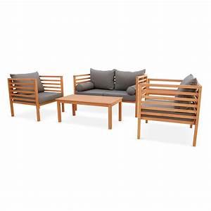 Mobilier Jardin Bois : salon de jardin cordoba en bois coussin gris anthracite ~ Premium-room.com Idées de Décoration
