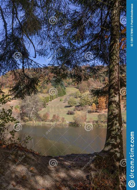 Autumn Lake Landscape At The Arboretum Of The Aubonne