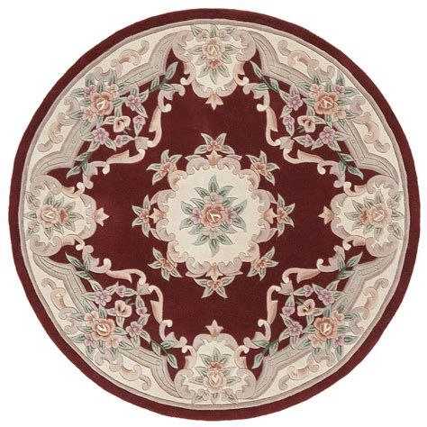 Area Rugs Burgundy by Shop Rugs America New Aubusson Burgundy Round Indoor