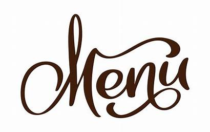 Menu Calligraphy Restaurant Text Lettering Background Vector