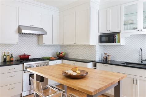 Marble Herringbone Backsplash   Transitional   Kitchen