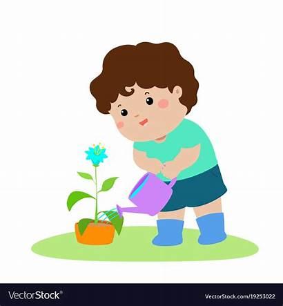 Watering Plants Boy Plant Cartoon Clipart Vector