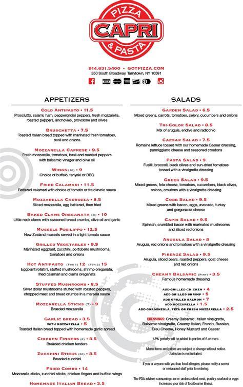 menu capri pizza