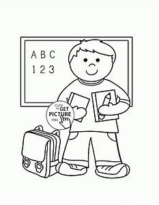 My First Day At School Coloring Page For Kids Back To On ...