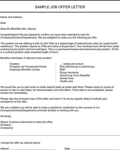 job offer letter templates sles word excel exles job offer letter sle download free premium
