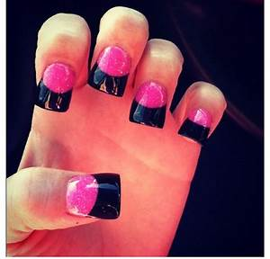 Pink and black French tip nails | Acrylic nail designs ...