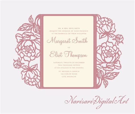 Peonies cut Wedding invitation 5x7 Gate fold Card