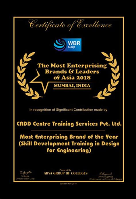 awards franchise india holding recognized cadd centre