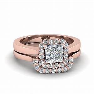 princess cut floating halo diamond wedding ring set in 14k With princess diamond wedding ring set