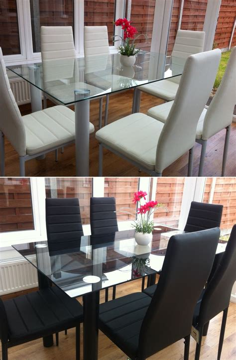 glass table six chairs stunning glass dining table set and with 4 or 6 faux