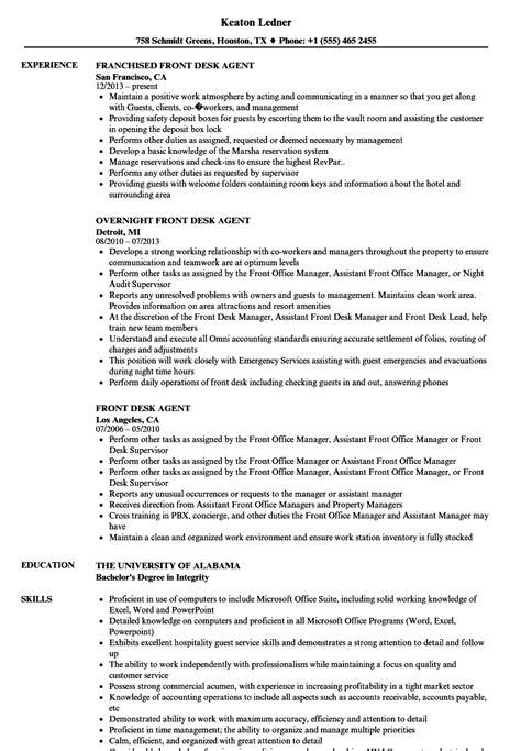 Front Desk Description For Resume by Front Desk Resume Sles Velvet