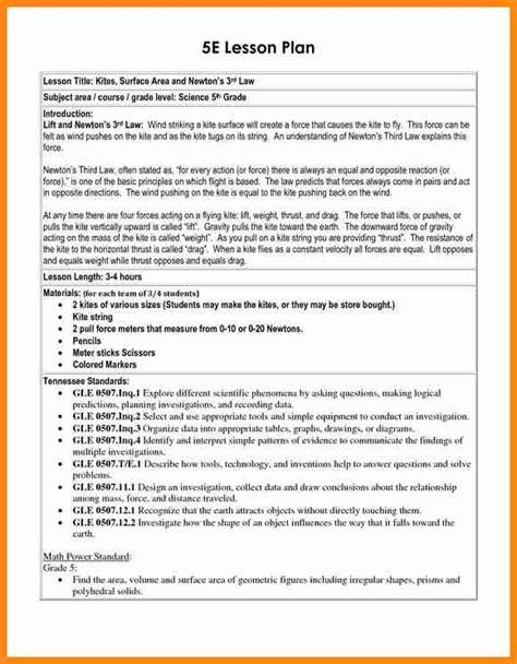 5e Lesson Plan Template 9 5 E Lesson Plan Template Driver Resume