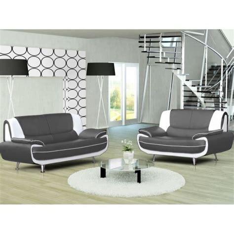 ensemble canape 3 et 2 places ensemble canapé 3 2 places gris et blanc design achat