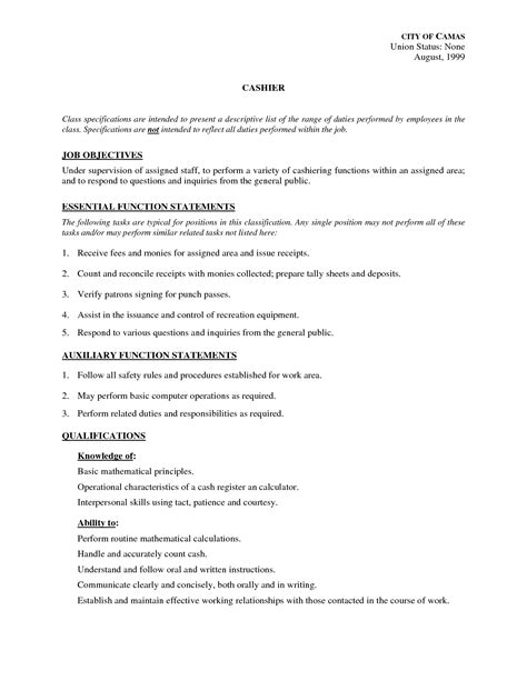 cashier description for resume template resume
