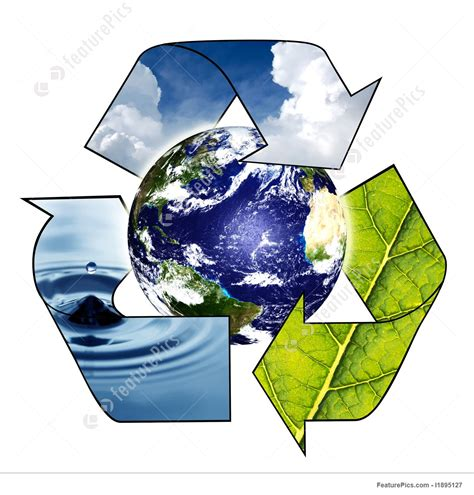 Ecology: Planet Earth With Recycle Symbol - Stock Picture