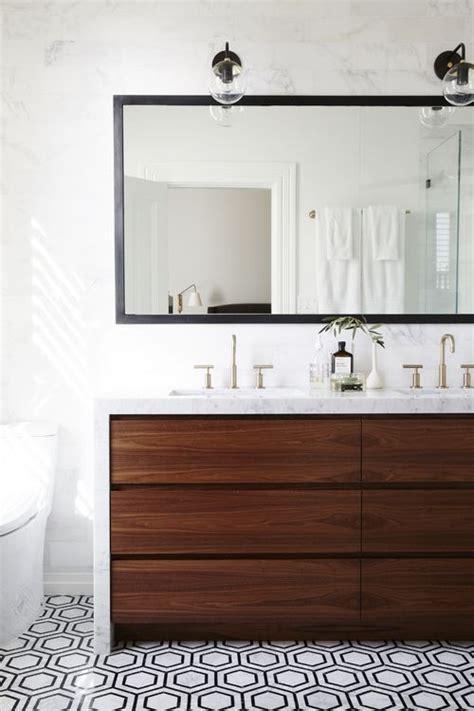 modern bathroom  walnut vanity hex floor marble