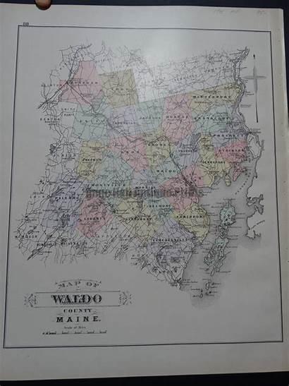 Waldo Maine County Map Maps Antique 1901