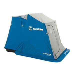 clam nanook ice fishing shelter with padded seats at blain