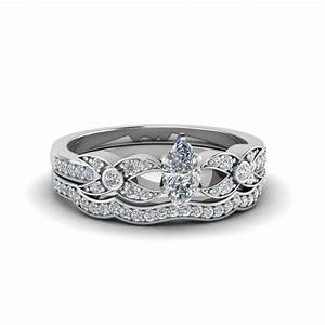 Marquise cut flower pave diamond wedding ring set in 14k for Marquise cut diamond wedding ring sets