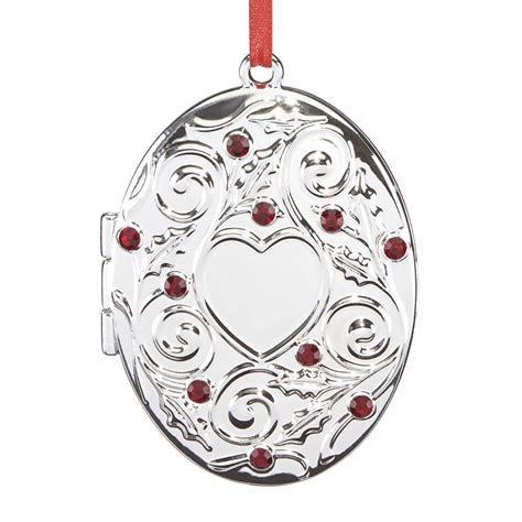holly berry locket ornament silverplate reed