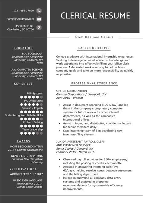 clerical worker resume  writing tips resume genius