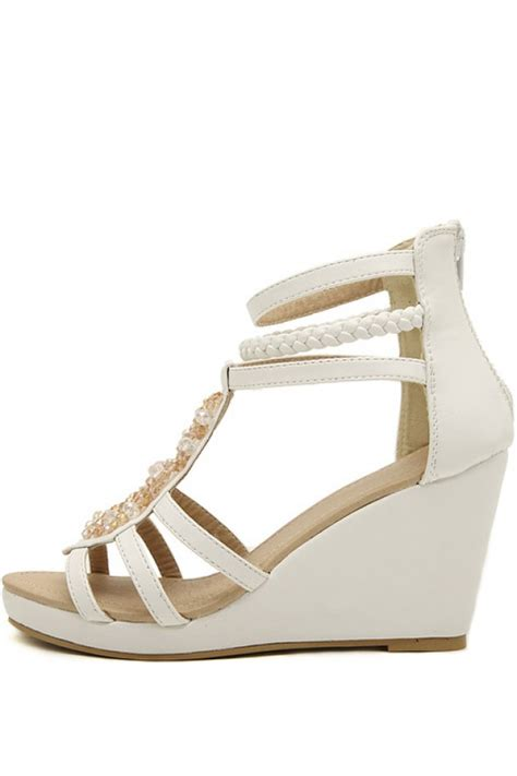 white faux leather beaded strappy gladiator wedges