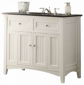 Chans furniture cf 47532gt thomasville 42 inch white for White bathroom vanity with black countertop